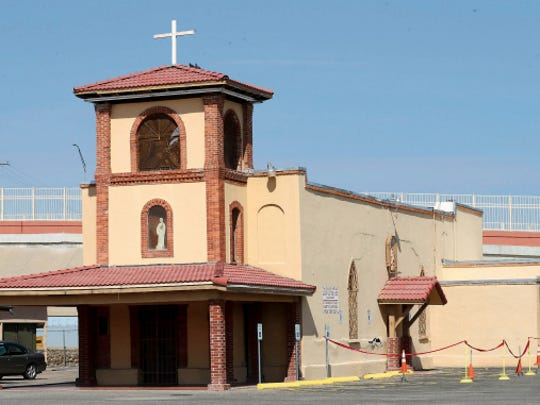 A picture of San Jose Catholic Church when it was evaluated for repairs including a leaky roof and wall cracks. The Diocese was not able to repair it and tore it down in 2016.
