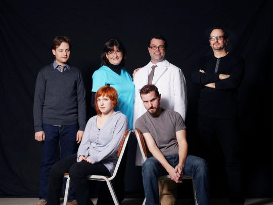 "The cast of ""The Flu Season"": front row from left,"