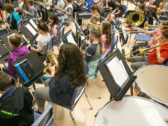 Spring Grove Intermediate fifth- and sixth-grade band practice Wednesday, March 16, 2016. Amanda J. Cain phot