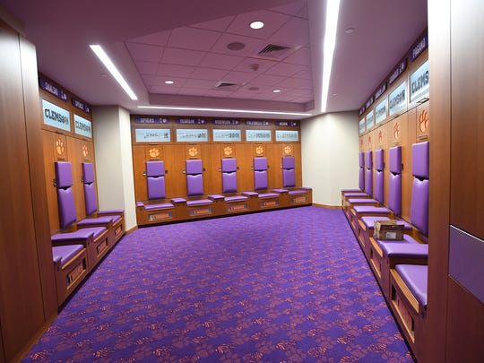 Clemson's locker room in the new Allen N. Reeves Football Complex on Tuesday, January 31, 2017.