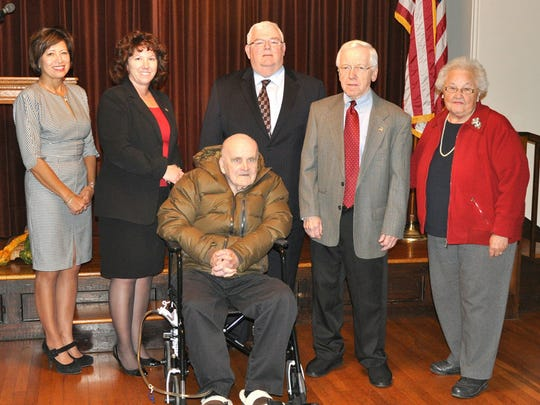 Five former mayors of the City of Lebanon posed with current mayor Sherry Capello at a fundraiser held at Mansion of Fifth in October 2013. From left, Jackie Parker, Capello, Bob Anspach, Don Griffith and Betty Eiceman. Seated in front is John Worrilow.