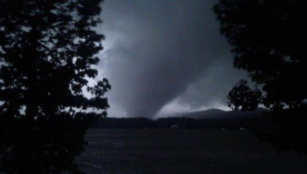 A tornado in Shoal Creek Valley, Ala., during a historic severe weather outbreak on April 27, 2011. A new study finds that a severe weather outbreak in 2011 was worsened by smoke particles from fires in Central America.