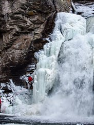 Anthony D'Ercole climbs Linville Falls off the Blue