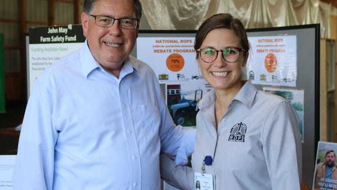 State Sen. James L. Seward, R-51-Oneonta, is pictured on left with National ROPS Rebate Coordinator Rebecca Meininger at a recent farm show announcing funding for the ROPS Rebate program. Seward was recognized by the North American Agricultural Safety Summit for his contributions to farming and agriculture.