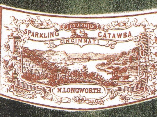 Label from a bottle of Longworth Catawba wine, circa 1850