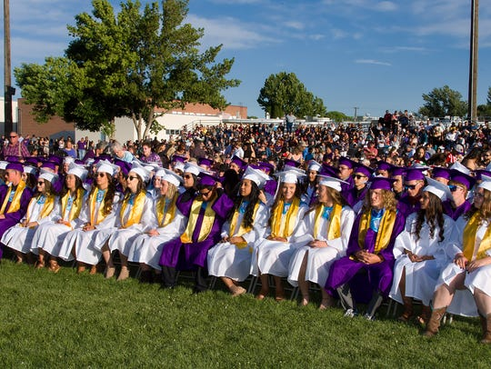 A large crowd watched the 2018 graduating class ceremony.