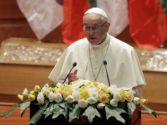 Pope talks rights for all in Myanmar, omits 'Rohingya'