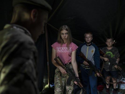 APTOPIX Ukraine Nationalist Youth Camp
