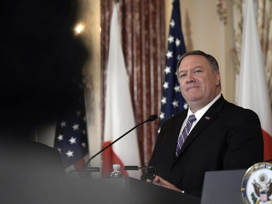 Secretary of State Mike Pompeo listens to a question during a news conference on Friday, April 19, 2019, at the Department of State in Washington.