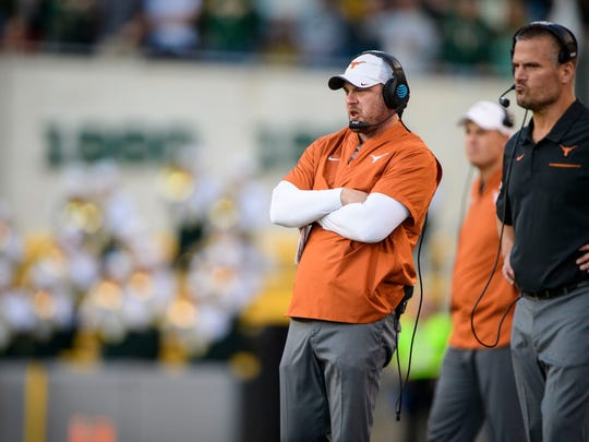 Nov 23, 2019; Waco, TX, USA; Texas Longhorns head coach Tom Herman watches his team take on the Baylor Bears during the game at McLane Stadium. Mandatory Credit: Jerome Miron-USA TODAY Sports