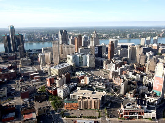 The view of downtown Detroit.