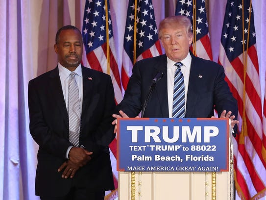 Donald Trump and Ben Carson appear at the Mar-A-Lago