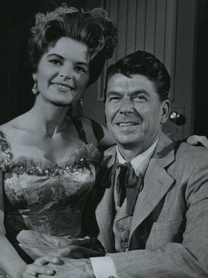 """Shary Marshal and Ronald Reagan appear in a 1965 episode of the television series """"Death Valley Days,"""" a staple of Grit TV. Reagan also hosted the series before he became governor of California."""