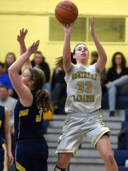 Northern Lebanon's Zoe Zerman puts up a shot over Elco's