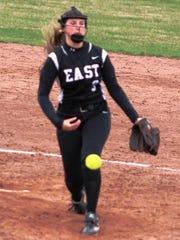 South Lyon East ace Sydney Kist fires a pitch toward