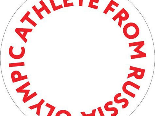 """This image made available by the International Olympic Committee on Wednesday Dec. 20, 2017, shows the proposed logo to be worn by athletes granted an exemption from Russia's doping ban. More than 200 athletes are set to compete in Pyeongchang as an """"Olympic Athlete from Russia"""" if they can prove they aren't tainted by doping. (IOC via AP)"""