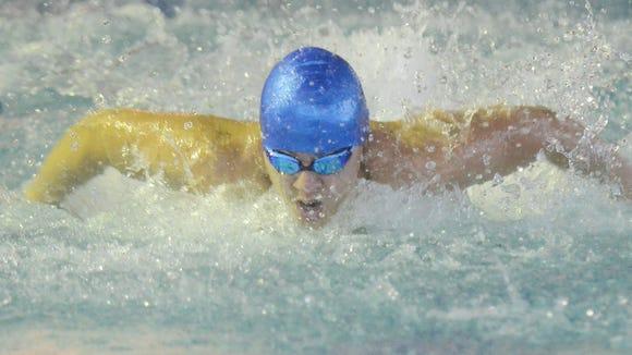 Passaic County Swimming Championship. PCTI 's Brandon Matos  in the 200IM. Jan 7, 2017