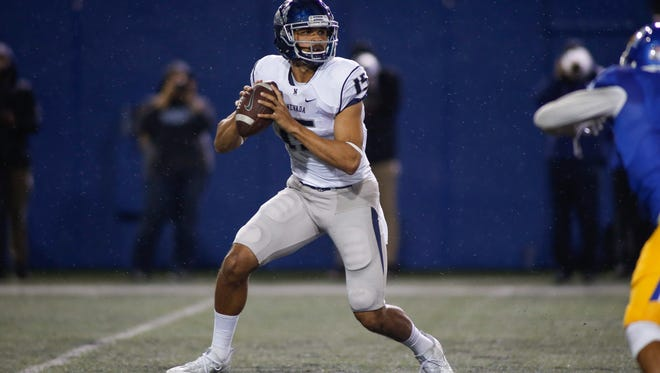 Tyler Stewart prepares to throw the ball against San Jose State
