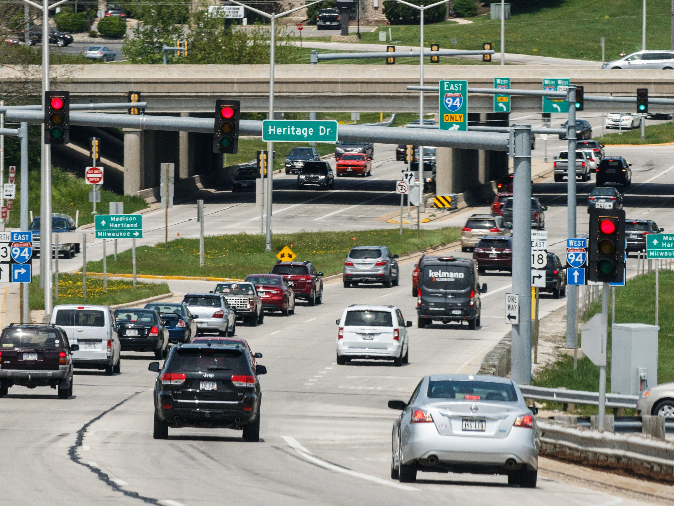 The intersection of Interstate 94 and Highway 83 in