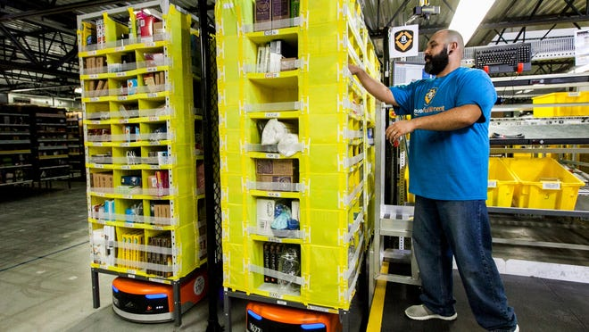 Amazon has been practicing social distancing in its warehouses.