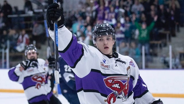 Shreveport's Brendan VanSweden celebrates after his goal capped a 2-0 victory in Game 1 of the North American Hockey League Robertson Cup semifinal vs. Wilkes-Barre/Scranton.