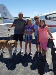 Bob Mckibeens of Janesville and his family flew Bear from Prairie du Chien to Sturgeon Bay.