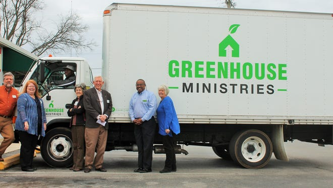 Publix Super Markets Charities donated money to fund a box truck for Greenhouse Ministries. Standing in front of the truck are, from left, Mike Dugan, Julie Young, Bettie Markham, Cliff Sharp, Felix Allen with Publix and Jane Sharp.