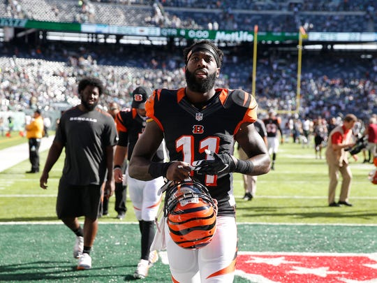 Cincinnati Bengals wide receiver Brandon LaFell (11) walks off the field after the Bengals beat the Jets in Week 1.