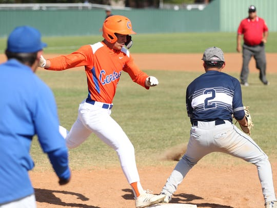 San Angelo Central High School's Rance Rosas reaches