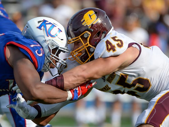 Central Michigan defensive end Joe Ostman (45)