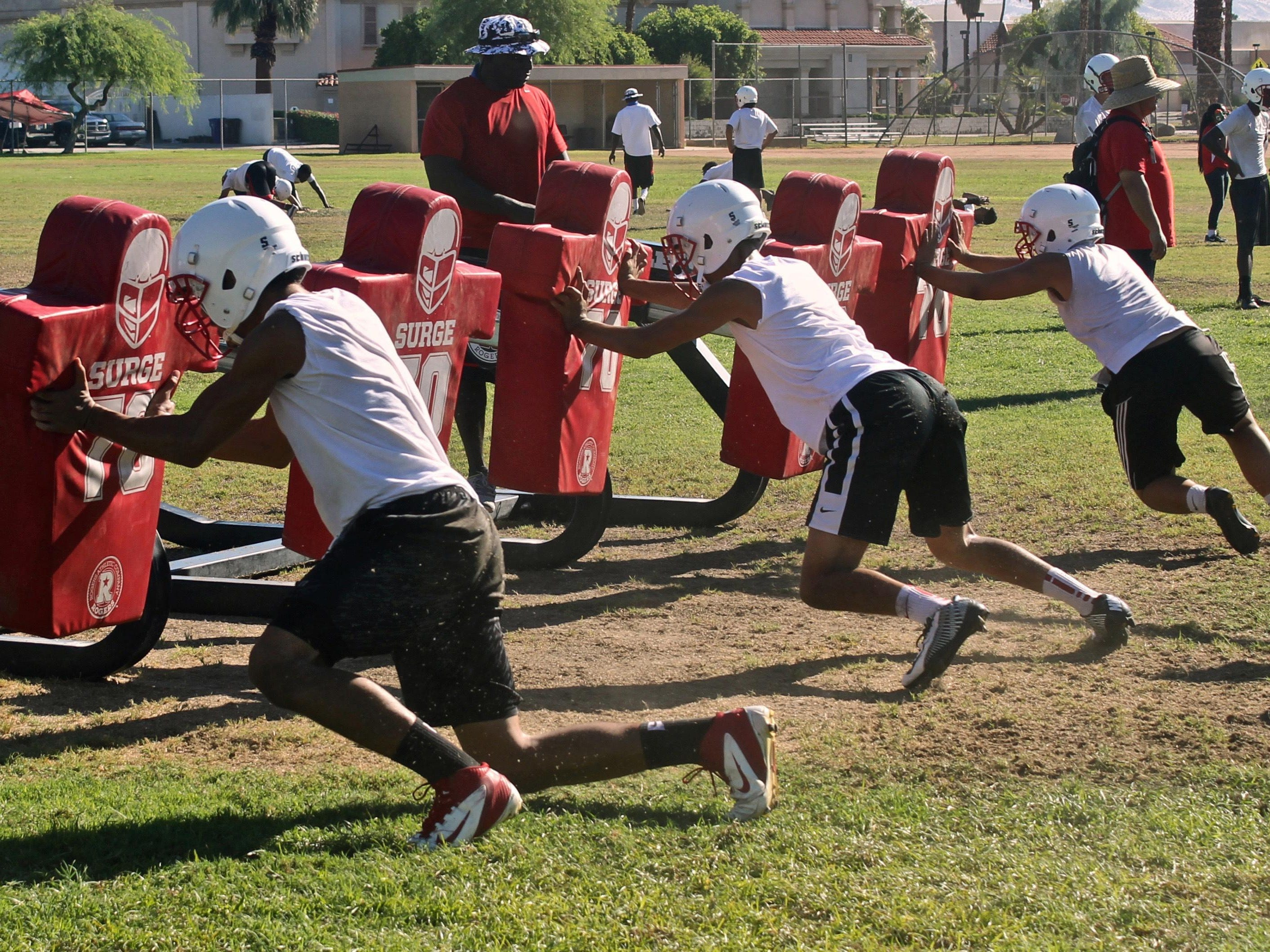 The Indians practice during the squad's third mandatory training session on Tuesday. The team is focused to make another CIF title run this season.