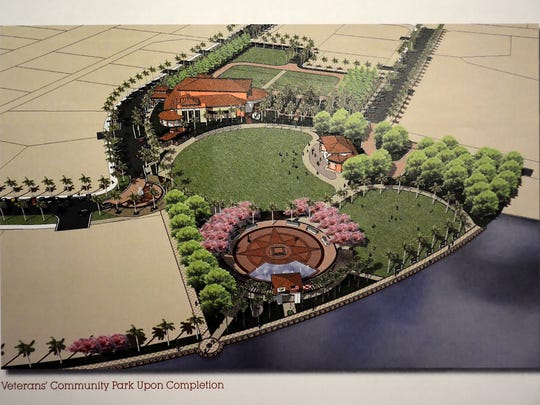 A bird's eye view illustration from 2009 shows a concept for Veterans Community Park build out.