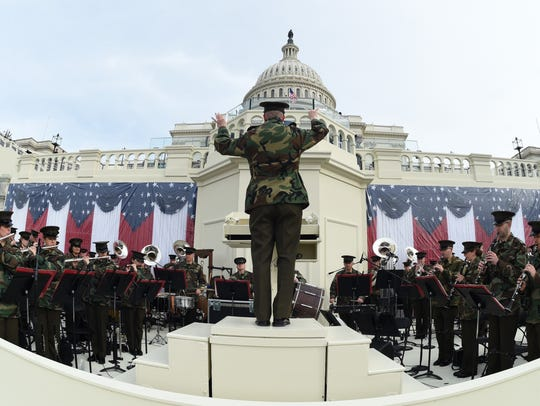 The United States Marine Corps Band practices in front
