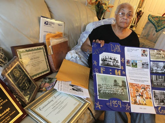 Norma Randolph is shown with some of her awards and