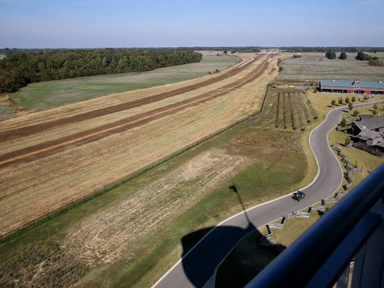 October 28, 2016 - After considerable delay due to lack of funds the work on Tennessee's portion of I-69 has been revived - but not in Memphis, only the sections in Obion County. This section is ready for paving as seen from the tower on Discovery Park of America.