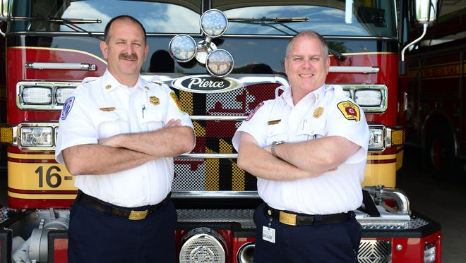 Salisbury Deputy Fire Chief John Tull and Fire Chief Rick Hoppes pose for a photo on Wednesday, June 6, 2018. Deputy Fire Chief John Tull will take over as Salisbury's new fire chief on July 1.
