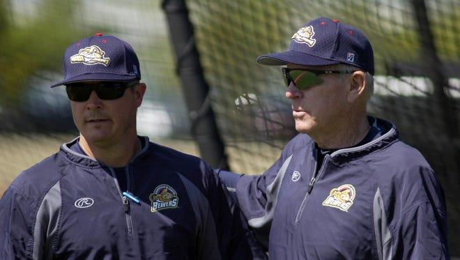 The Birmingham-Bloomfield Beavers brain trust includes manager Chris Newell (left) of Waterford and assistant coach Rich Donnelly, who worked with former Detroit Tigers manager Jim Leyland during his stops in Pittsburgh and Florida.