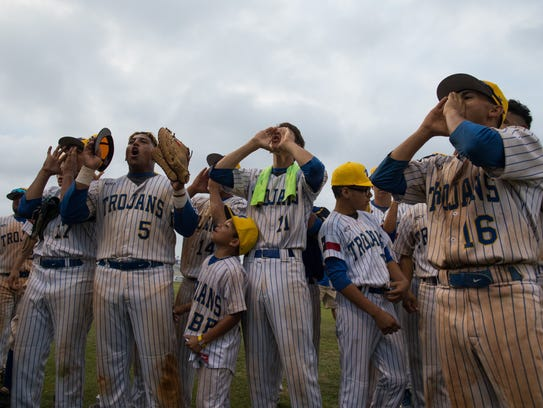 Moody celebrates after winning the 5A Regional semifinal