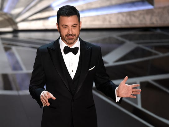 Host Jimmy Kimmel speaks at the Oscars on Sunday at