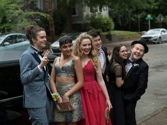 """Blockers"" is told partly from the female teen perspective of a group of prom-goers (from left): Connor (Miles Robbins), Kayla (Geraldine Viswanathan), Julie (Kathryn Newton), Austin (Graham Phillips), Sam (Gideon Adlon) and Chad (Jimmy Bellinger)."