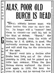 A copy of a Iowa City Citizen story from Feb. 4, 1910 prematurely claims Burch had died.