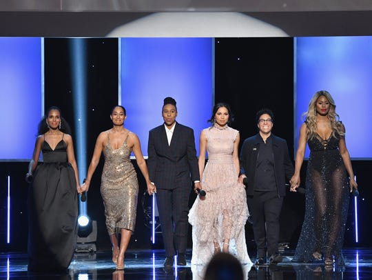 Kerry Washington, Tracee Ellis Ross, Lena Waithe, Jurnee Smollett-Bell, Angela Robinson, and Laverne Cox spoke onstage together at the NAACP Image Awards on Jan. 15.