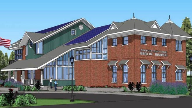 An artist's rendering of the future Berlin branch of the Worcester County Library