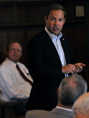 Dustin Burrows, District 83 state representative, speaks during a Republican meet-and-greet luncheon at Stamford's Texas Cowboy Reunion Bunkhouse Tuesday, Oct. 10, 2017.