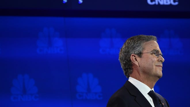 Republican Presidential hopeful Jeb Bush looks on during the CNBC Republican Presidential Debate, October 28, 2015 at the Coors Event Center at the University of Colorado in Boulder, Colorado.