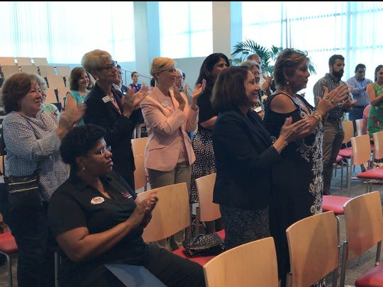 "Members of the United Chamber of Corpus Christi applaud the organization's new CEO and President Cleofas ""Cleo"" Rodriguez Jr. after he addressed them at a news conference announcing his apointment Wednesday, July 5, 2017."