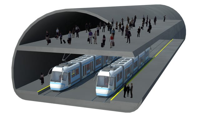 A rendering shows a proposed downtown tunnel station that is part transit plan.