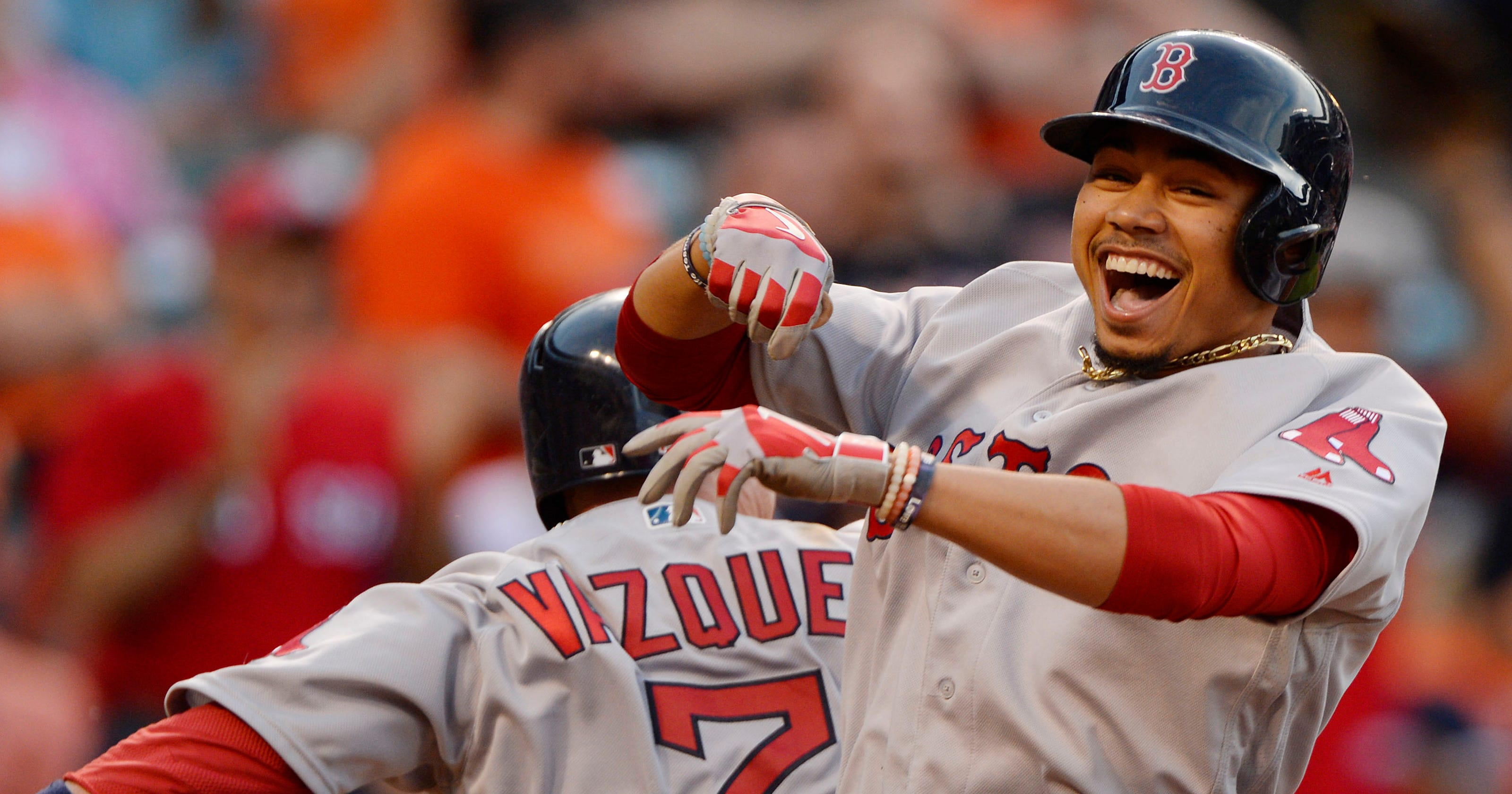 quality design b3bf3 21100 Mookie Betts has 3 HRs, 5 RBI as Red Sox beat Orioles