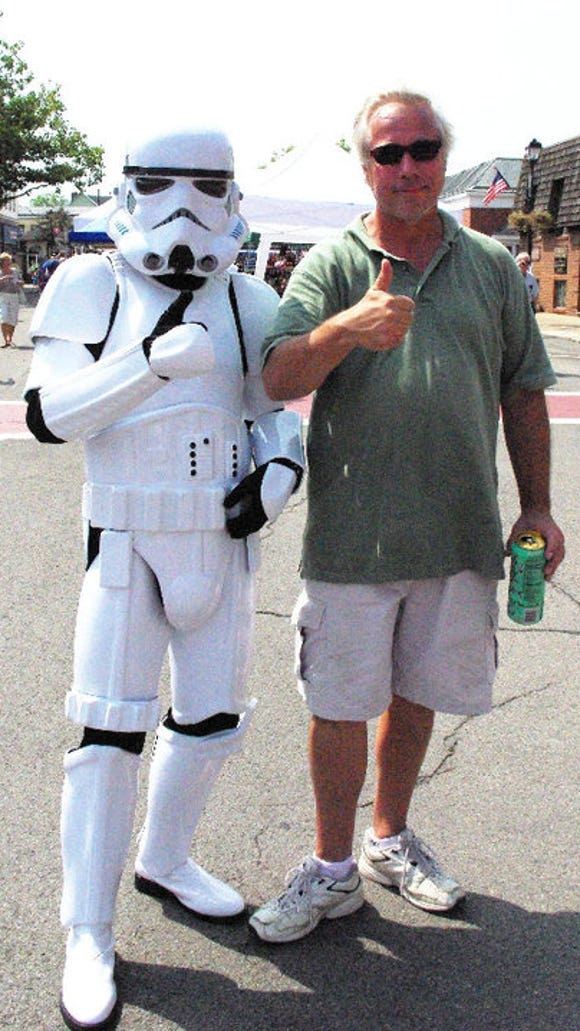 Tom Spoonhower poses with a Village Stormtrooper in a photo from Village Days. (Tom's the one on the right.)