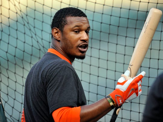 Baltimore Orioles center fielder Adam Jones  during batting practice the day before Game 1 of the 2014 ALDS.